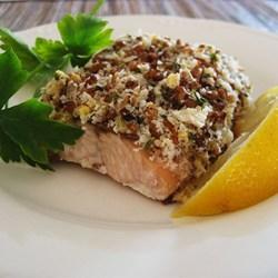 Alaska Salmon Bake with Pecan Crunch Coating