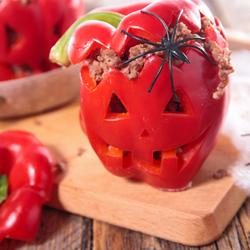 Jack-o'-Lantern Stuffed Bell Peppers