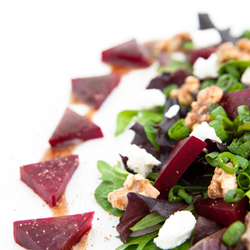 Candied Walnuts, Beet and Goat Cheese Salad