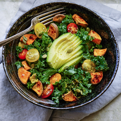 Kale and Baked Yam Salad