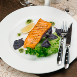 Roast Salmon with Mushrooms and Truffle Oil
