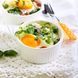 Baked Eggs with Arugula and Salmon
