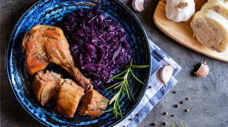 Braised Red Cabbage served with Roast Duck