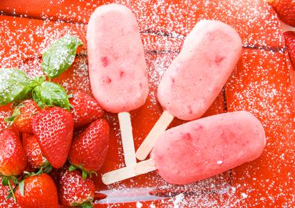 Homemade vegan strawberry ice pops