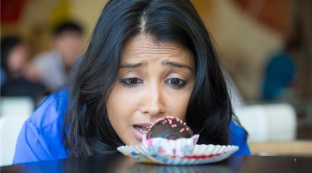 Girl desperately craving dessert