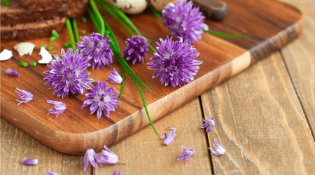 Tender on the outside, chive blossoms have a strong oniony flavor.