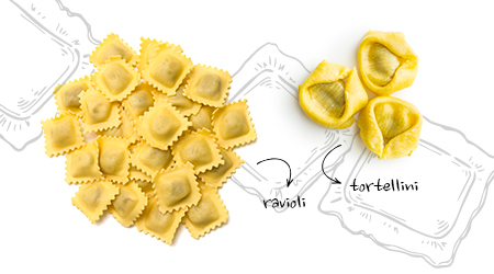 Pasta with filling is to be served with simpler, lighter sauces, oil- or butter-based