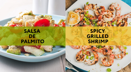 Salsa de palmito is a great vegan appetizer idea, while spicy grilled shrimp is a wonderful non-vegan appetizer