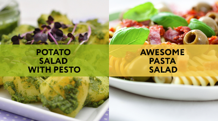 Which would you choose: vegan potato salad with pesto or awesome pasta salad for meat eaters?