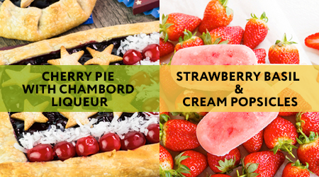 Get the recipe for vegan cherry pie or non-vegan homemade ice pops with strawberries, basil, and cream