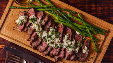 Try the combination of the salty-sour blue cheese steak topping and grilled beef