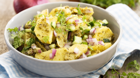 Potato salad is another cookout classic. Potato salad with pesto is a Mediterranean twist on the familiar recipe