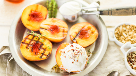 Grilled Peaches are especially decadent with a scoop of ice cream. Get the recipe for grilled Peaches