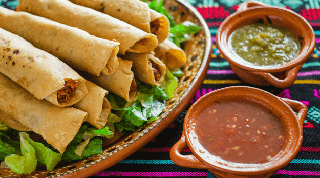 Mexican Chicken flautas with lettuce