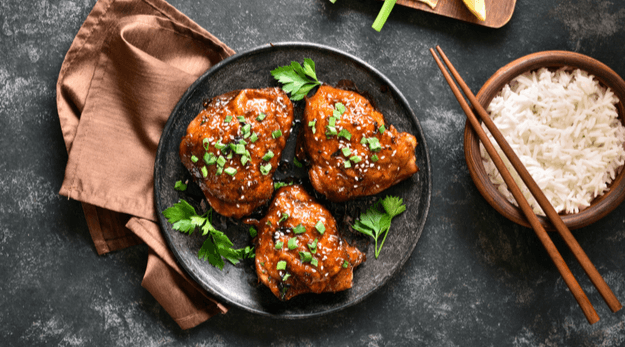 Soy glazed chicken thighs with herbs