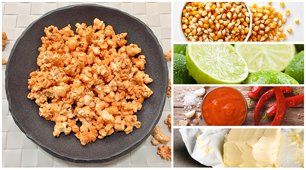 Spicy popcorn snack in a bowl