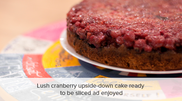 Lush cranberry upside down cake