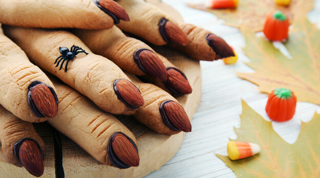 witches' fingers cookies on a wooden table