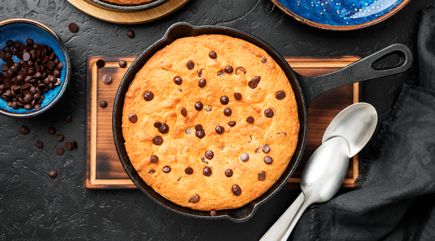 Sundae skillet cookie with chocolate chips in a black skillet